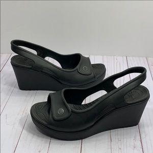 CROCS Wedge Sandals black heels sZ 8